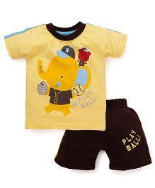 Olio Kids Half Sleeves Printed T-Shirt And Shorts -Yellow Brown