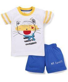 Olio Kids Half Sleeves Printed T-Shirt And Shorts - White Yellow Royal Blue