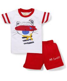 Olio Kids Half Sleeves Printed T-Shirt And Shorts - White Red
