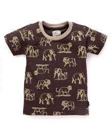 Olio Kids Half Sleeves T-Shirt Animal Print - Brown