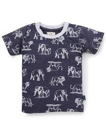 Olio Kids Half Sleeves T-Shirt Animal Print - Dark Bluewn