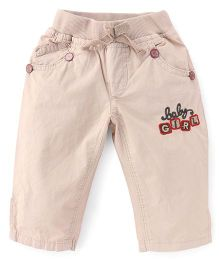 Olio Kids Full Length Pants Embroidery - Beige