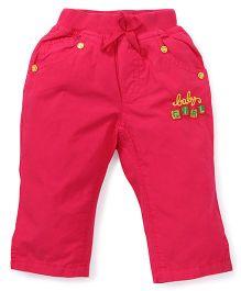 Olio Kids Full Length Pants Embroidery - Dark Pink