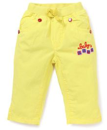 Olio Kids Full Length Pants Embroidery - Yellow