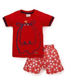 Olio Kids Half Sleeves T-Shirt And Dotted Shorts Hippo Print - Red