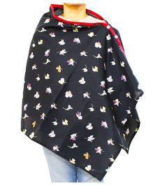 Kadam Baby Nursing Poncho Floral Print - Black