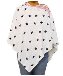 Kadam Baby Nursing Poncho Star Print - White