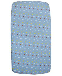 Kadam Baby Polka & Mouse Print Crib Sheet - Blue