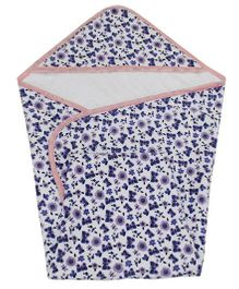 Kadam Baby Floral Print Baby Hooded Towel - Purple White
