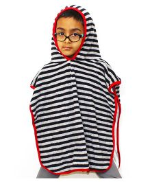 Kadam Baby Hooded Poncho Stripes Print - Black White