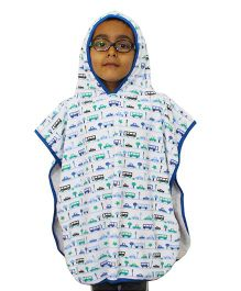 Kadam Baby Hooded Poncho Vehicle Print - Blue White