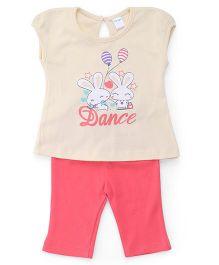 Tango Short Sleeves Printed Top And Capri - Beige Coral