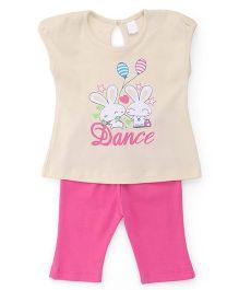 Tango Short Sleeves Printed Top And Capri - Beige Pink