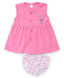 Tango Sleeveless Frock With Bloomer Teddy And Floral Print - Pink White
