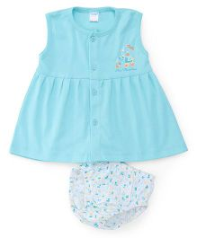 Tango Sleeveless Frock With Bloomer Teddy And Floral Print - Blue White