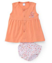 Tango Sleeveless Frock With Bloomer Teddy And Floral Print - Peach White