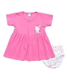 Tango Half Sleeves Frock With Bloomer Teddy Print - Pink White