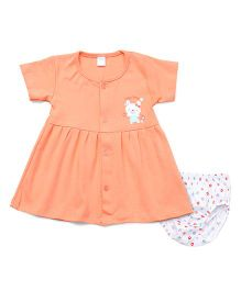 Tango Half Sleeves Frock With Bloomer Teddy Print - Peach White