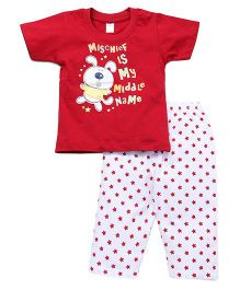Tango Half Sleeves Night Suit Printed - Red White