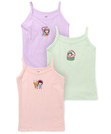 Simply Singlet Slip Printed Pack Of 3 - Lavender Green Peach