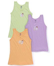 Simply Sleeveless Slips Pack of 3 - Light Green Purple Orange