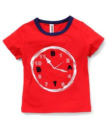 Baobaoshu Clock Print Crew Neck Tee - Red
