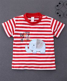 Baby Yi Striped Tee With Elephant Applique - Red & White