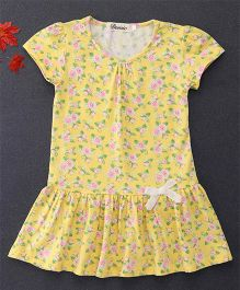 Domic Rose Print Dress With Bow Design - Yellow