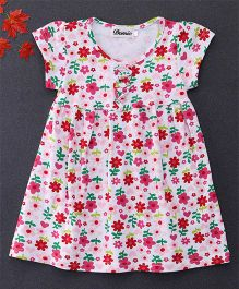 Domic Short Sleeves Flower Print Dress - Multicolor