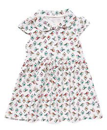 Bear Story Bird & Nest Print Collar Dress - White
