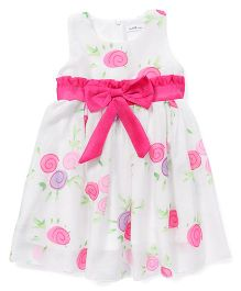 Ivaer Printed Dress With Bow Design - White & Pink