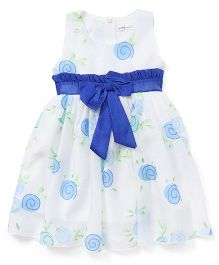 Ivaer Printed Dress With Bow Design - White & Blue