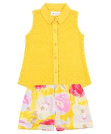 Soul Fairy Lace Top With Printed Shorts - Yellow