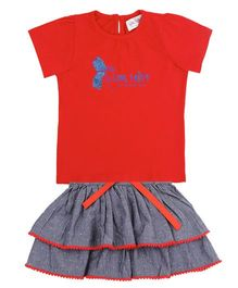 Soul Fairy Ruffle Tee With Tier Skirt - Indigo & Red