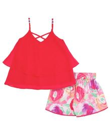 Soul Fairy Strap Top With Printed Shorts - Fuchsia