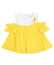 Soul Fairy Off Shoulder Polka Dot Print Top - Yellow