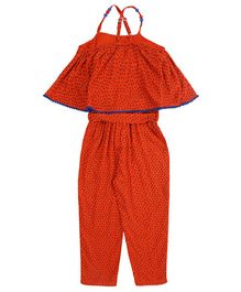 Soul Fairy Printed Strappy Cape Jumpsuit - Rust