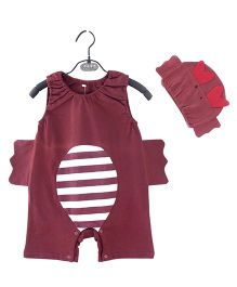 Dells World Butterfly Design Adorable Romper With Cap - Red