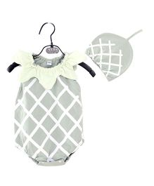 Dells World Pineapple Design Onesie With Cap - Greyish Green