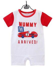 Pre Order - Dells World Mumma's Love Slogan Printed Romper - White & Red
