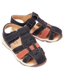 Little Hip Boutique Dual Tone Closed Toe Sandals - Black & Red