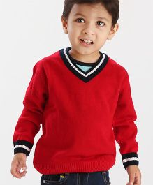Babyhug Full Sleeves Solid Color Contrast V Neck Sweater - Red