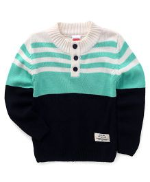 Babyhug Full Sleeves Pullover Sweater With Half Button Opening - Navy & Mint Green