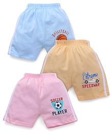 Cucumber Shorts Pack Of 3 - Pink Yellow Blue