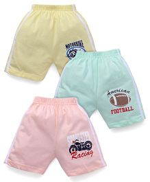 Cucumber Shorts Pack Of 3 - Pink Green Yellow