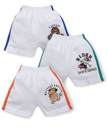 Cucumber Soccer Print Shorts With Side Stripes Set Of 3 - White Green Blue Orange
