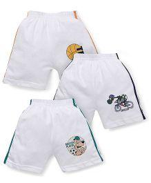Cucumber Multi Print Shorts With Side Stripes Set Of 3 - White Green Blue Orange