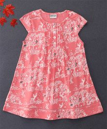Bear Story Forest Print Dress With Buttons At Front - Coral