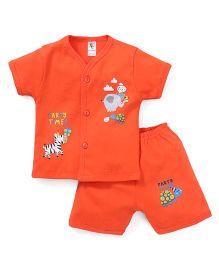 Cucumber Half Sleeves Vest & Shorts Set River Animal Print - Orange