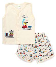 Cucumber Sleeveless T-Shirt And Shorts Set Train Print - Cream